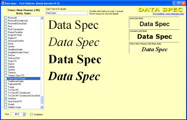 Data Spec Font